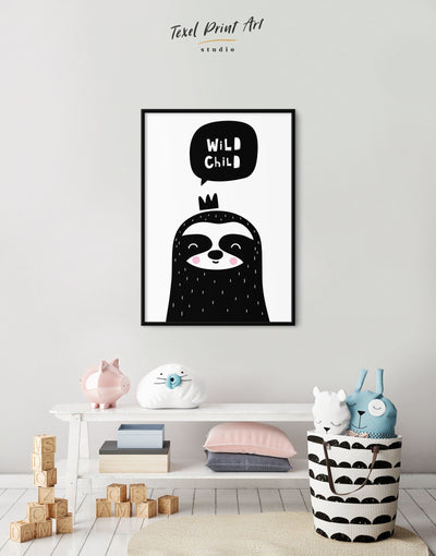 Framed Sloth Nursery Decor Baby Room Art Canvas - Canvas Wall Art Black black and white framed canvas Kids room kids wall art