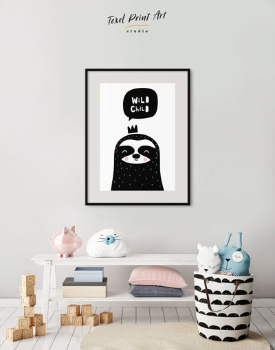 Framed Sloth Nursery Decor Baby Room Art Print - Wall Art black black and white framed print Kids room kids wall art