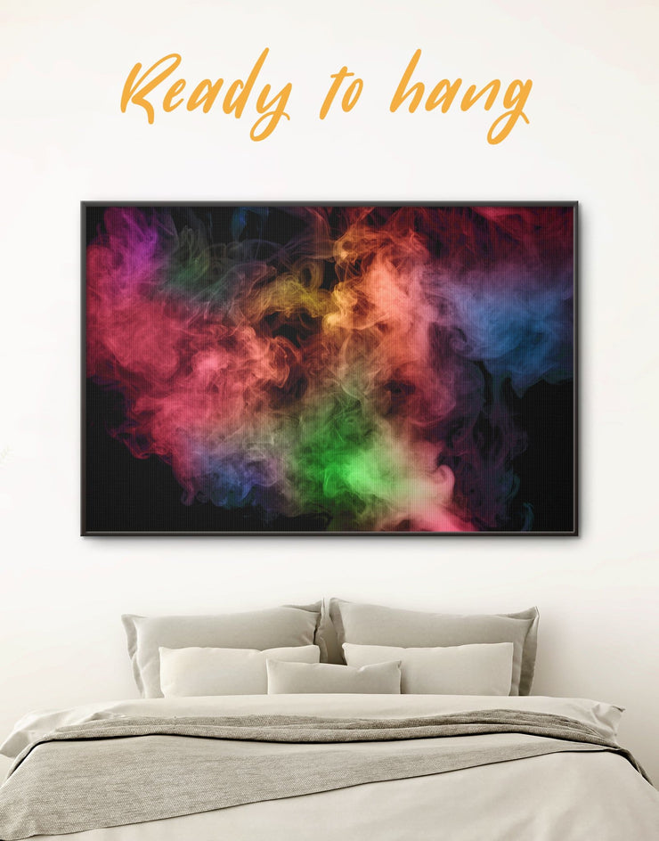 Framed Smoke Wall Art Canvas - Abstract bedroom Black Contemporary framed canvas