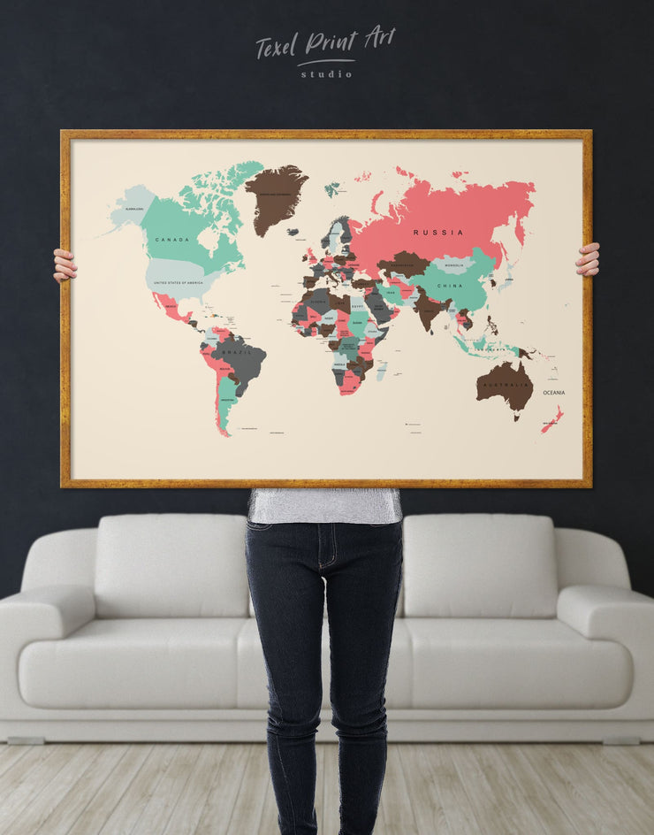 Framed Soft Colored World Map Wall Art Canvas - Abstract Abstract map bedroom brown framed canvas