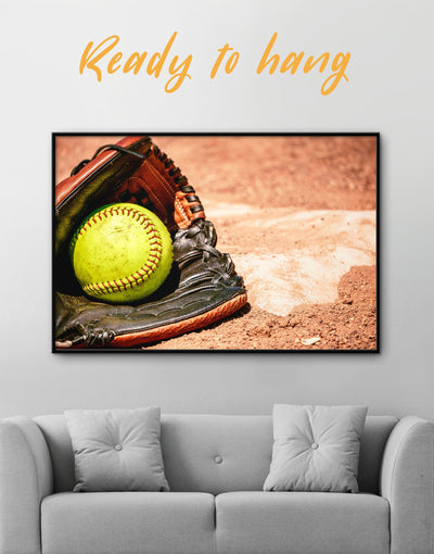 Framed Softball Wall Decor Canvas - Canvas Wall Art framed canvas Living Room Office Wall Art softball Sports