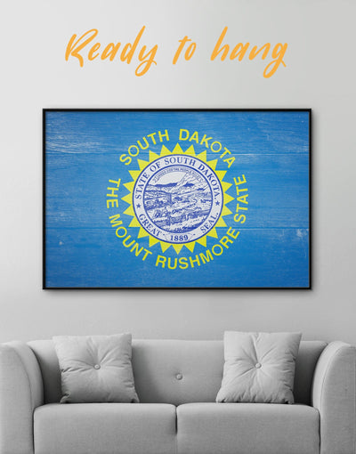 Framed South Dakota Flag Wall Art Canvas - blue flag wall art framed canvas Hallway Living Room