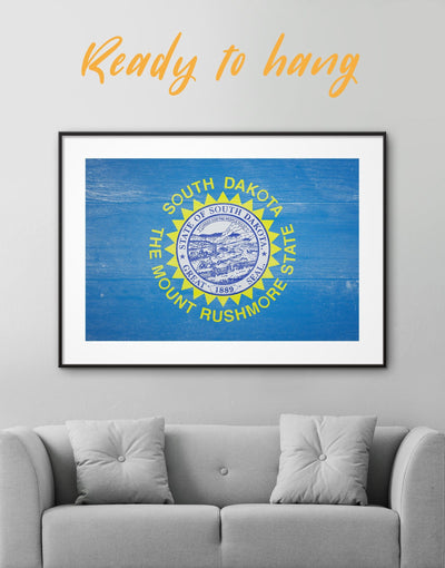 Framed South Dakota Flag Wall Art Print - blue flag wall art framed print Hallway Living Room