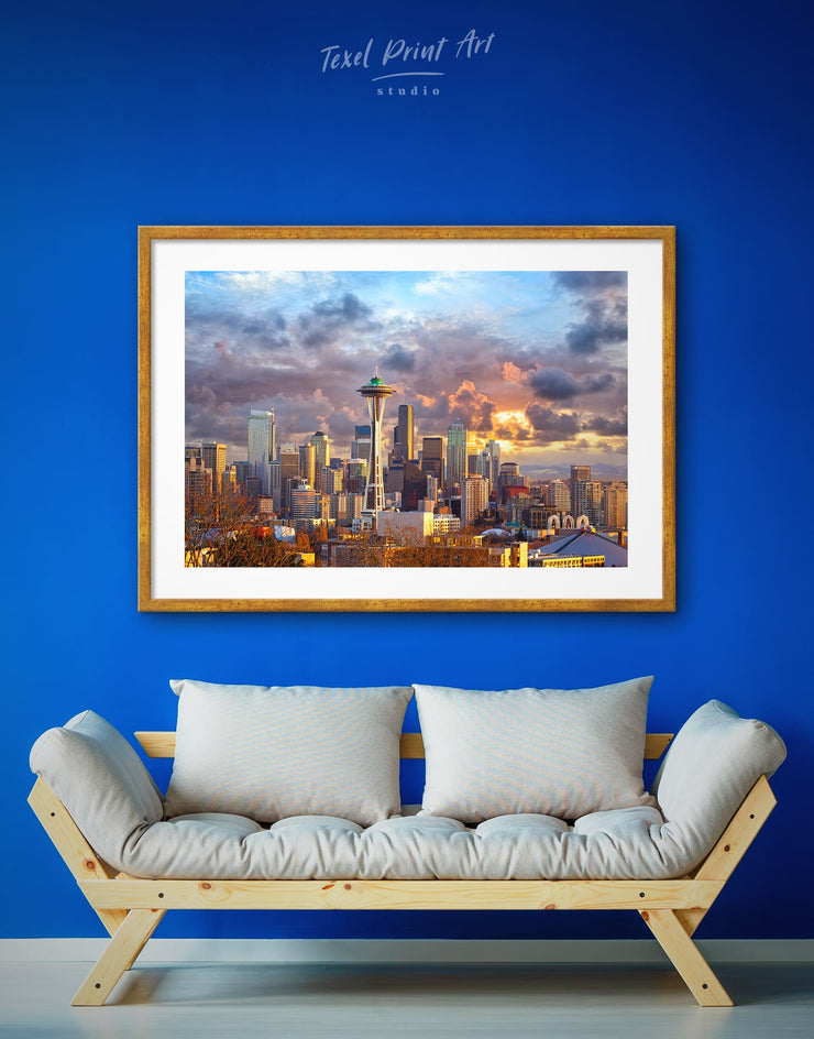 Framed Space Needle in Seattle Wall Art Print - City Skyline Wall Art Cityscape Dining room framed print Hallway