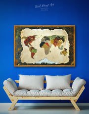 Framed Spice Map Wall Art Canvas