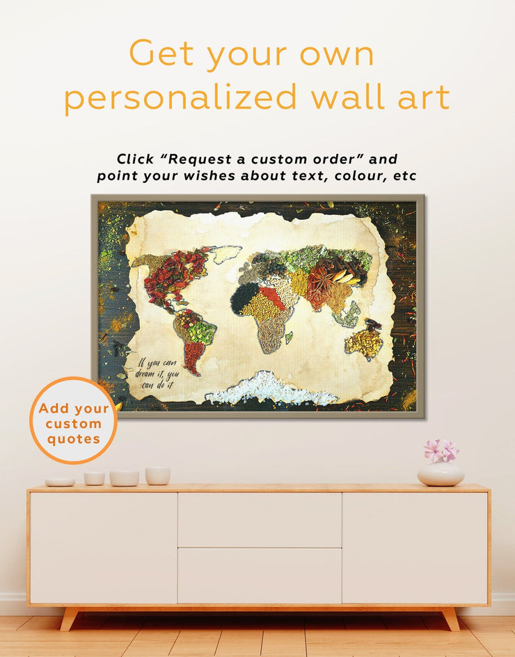 Framed Spice Map Wall Art Canvas - Abstract Abstract map abstract world map wall art bedroom Dining room