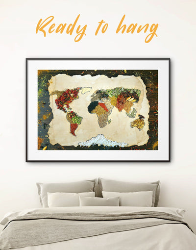 Framed Spice World Map Wall Art Print - Abstract Abstract map abstract world map wall art bedroom Dining room