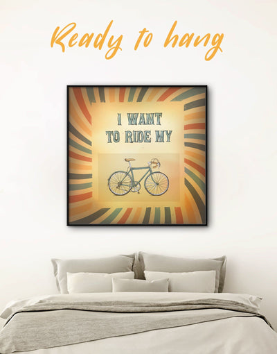 Framed Sport Bicycle Wall Art Canvas - bicycle wall art brown framed canvas Sports Vintage