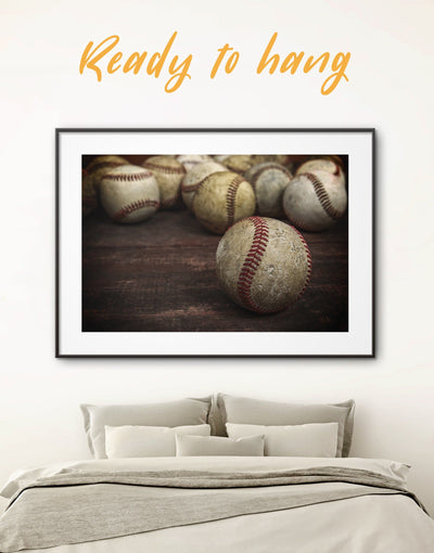 Framed Sports Wall Art Print - bachelor pad baseball wall art Brown framed print framed wall art