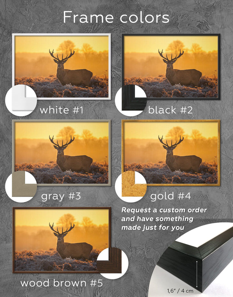Framed Stag Animal Wall Art Canvas - Animal bedroom deer wall art framed canvas Living Room