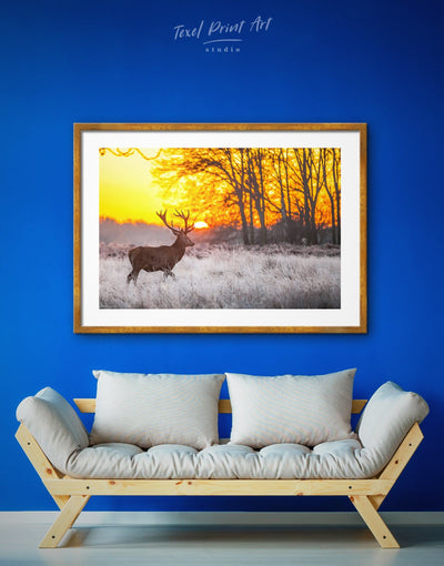 Framed Stag Wall Art Print - Animal Animals deer wall art framed print Hallway