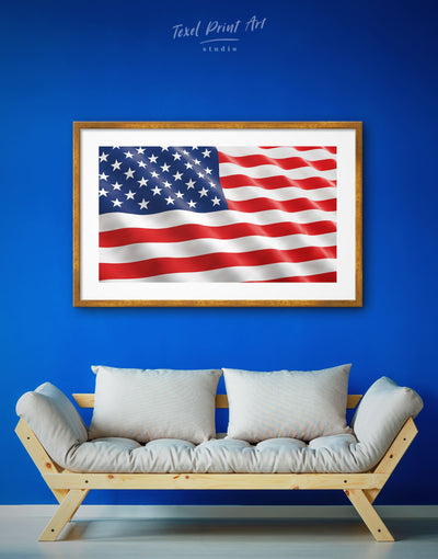 Framed Star-Spangled Banner Wall Art Print - American flag bedroom blue Flag Wall Art framed print