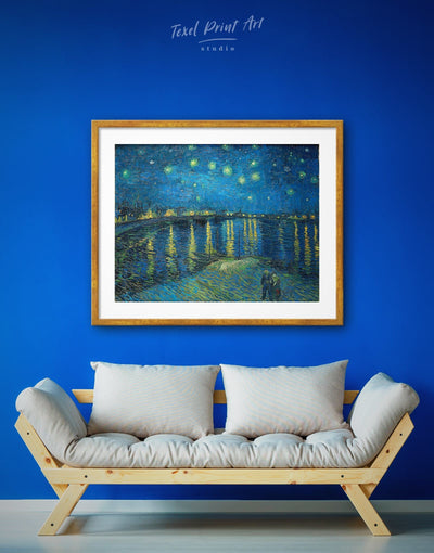 Framed Starry Night Over the Rhone Van Gogh Wall Art Print - bedroom Blue Contemporary Dining room framed print