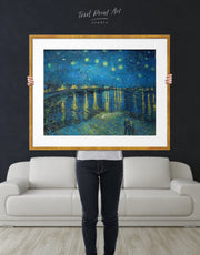 Framed Starry Night Over the Rhone Van Gogh Wall Art Print