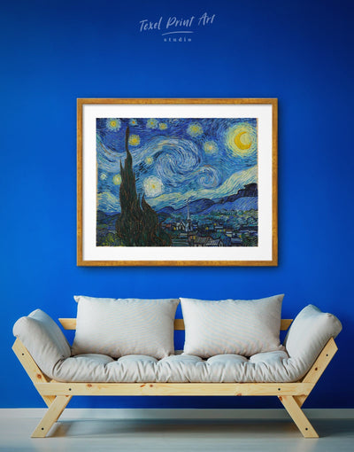 Framed Starry Night Van Gogh Wall Art Print - bedroom Blue Blue Abstract Wall art Contemporary Dining room