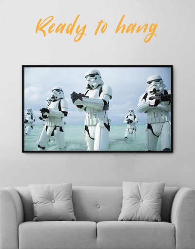 Framed Stormtrooper Wall Art Canvas - bachelor pad bedroom Black Blue framed canvas