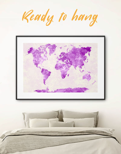 Framed Stylish Purple Map Wall Art Print - Abstract Abstract map bedroom framed print framed world map print
