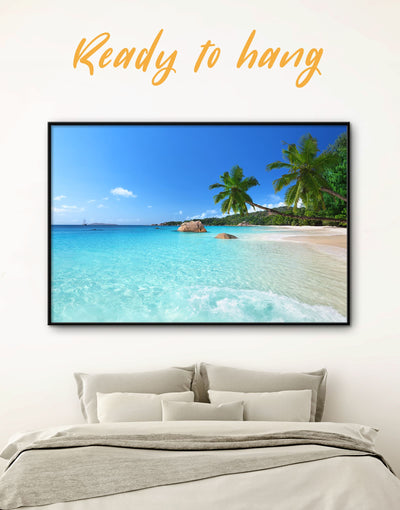 Framed Sunny Beach Wall Art Canvas - beach wall art bedroom Blue blue wall art for bedroom Blue wall art for living room