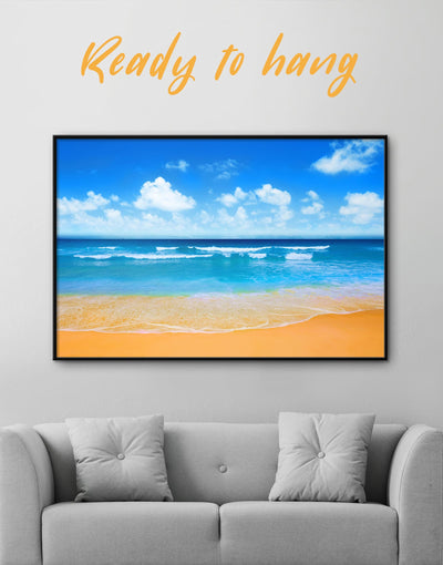 Framed Sunny Paradise Wall Art Canvas - Beach House beach wall art beach wall art for bathroom bedroom Blue