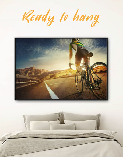Framed Sunset Bicycle Wall Art Canvas - bicycle wall art framed canvas inspirational wall art Living Room Motivational