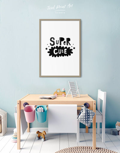 Framed Super Cute Monochrome Nursery Art Canvas - Canvas Wall Art Black black and white framed canvas Kids room kids wall art