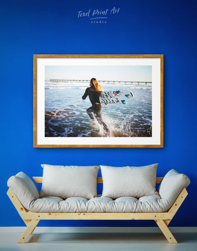 Framed Surf Wall Art Print - framed print inspirational wall art Living Room Motivational ocean wall art