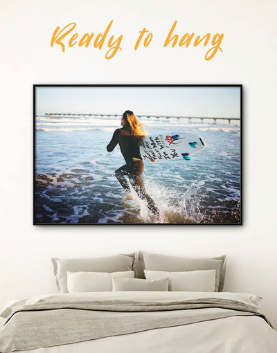 Framed Surfer Wall Art Canvas - framed canvas inspirational wall art Living Room Motivational ocean wall art
