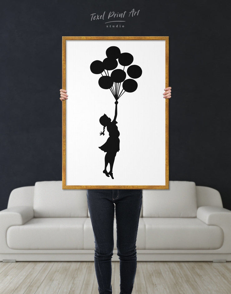 Framed The Girl with the Balloons by Banksy Wall Art Canvas - Banksy banksy wall art bedroom Black Contemporary