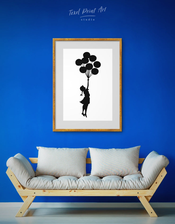 Framed The Girl with the Balloons by Banksy Wall Art Print - Banksy banksy wall art bedroom Black Contemporary