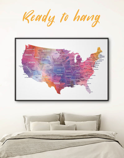 Framed The United States Multicolor Map Wall Art Canvas - bedroom contemporary wall art corkboard Country Map framed
