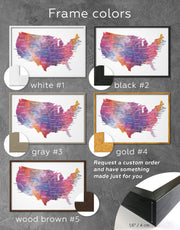 Framed The United States Multicolor Map Wall Art Canvas