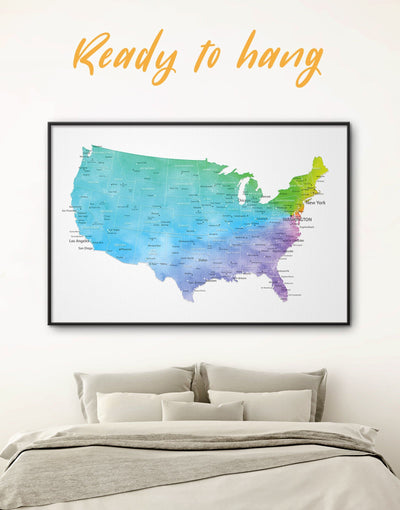 Framed The United States Push Pin Map Wall Art Canvas - bedroom Blue blue and white contemporary wall art corkboard