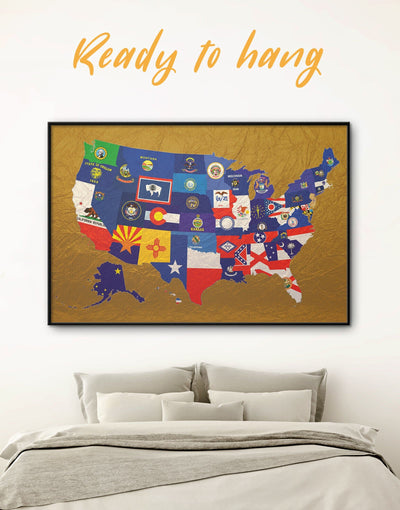 Framed The USA Flags Map Wall Art Canvas - Abstract Country Map Flag Wall Art framed canvas Gold