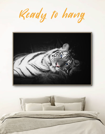 Framed Tiger Wall Art Canvas - Animal Animals bedroom black framed canvas