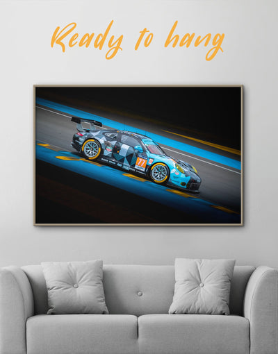 Framed Touring Car Racing Wall Art Canvas - bachelor pad black blue car framed canvas