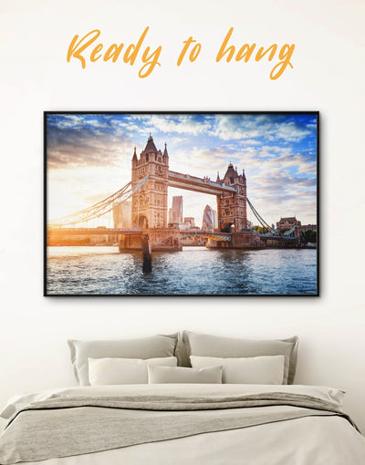 Framed Tower Bridge in London Wall Art Canvas - Architectural Wall Art bedroom Blue Bridge framed canvas