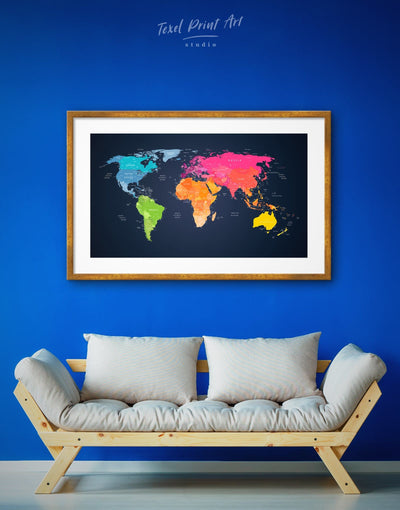 Framed Travel Map on Black Wall Art Print - Black contemporary wall art framed framed map wall art framed print