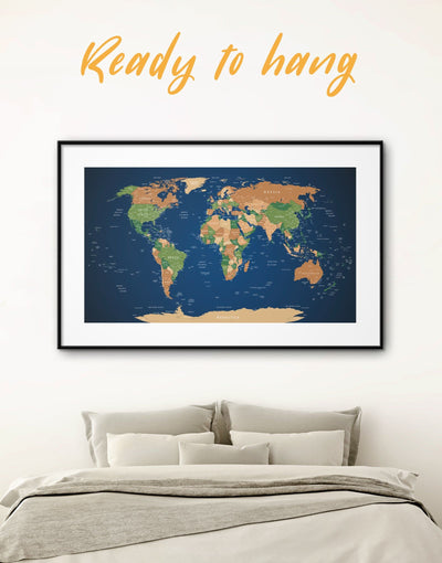 Framed Travel Map Wall Art Print - bedroom blue and green wall art framed print framed world map print Living Room