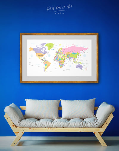 Framed Travel World Map Wall Art Print - framed print framed world map print Hallway Living Room pink