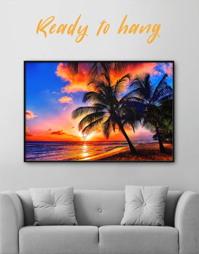 Framed Tropics Wall Art Canvas - Beach House beach wall art beach wall art for bathroom bedroom coastal wall art