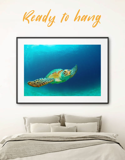 Framed Turtle Wall Art Print - Animal Blue framed print Living Room ocean wall art