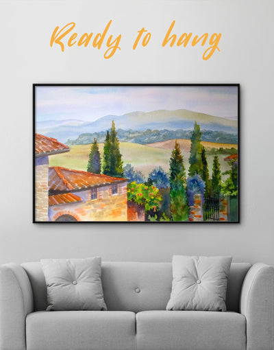 Framed Tuscan Landscape Wall Art Canvas - bedroom framed canvas Hallway Italy wall art landscape wall art
