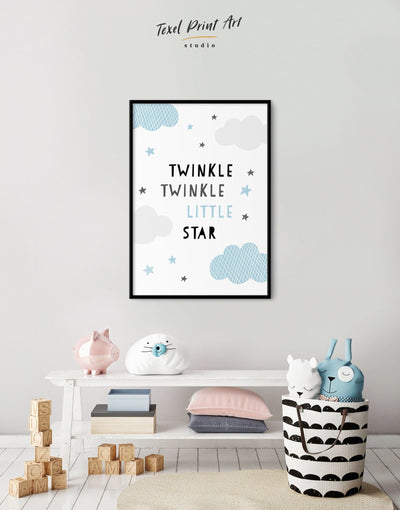 Framed Twinkle Twinkle Little Star Artwork Nursery Canvas Art - Wall Art blue framed print Kids room kids wall art Nursery