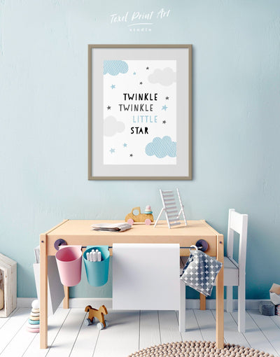 Framed Twinkle Twinkle Little Star Print - Canvas Wall Art blue framed canvas Kids room kids wall art Nursery