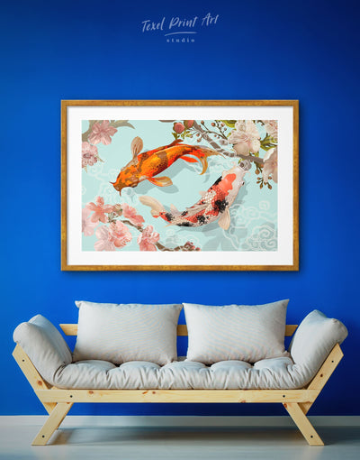 Framed Two Koi Fish Swimming Together Wall Art Print - Animals asian wall art bedroom framed print japanese wall art