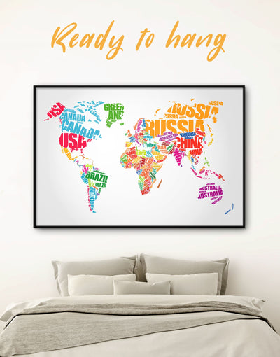 Framed Typography World Map Wall Art Canvas - Abstract map framed canvas framed world map canvas Labeled world map Living Room