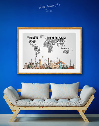 Framed Typography World Map Wall Art Print - Abstract map bedroom black framed print framed world map print
