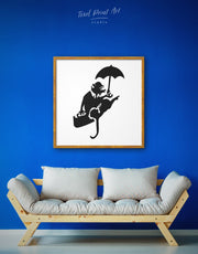 Framed Umbrella Rat by Banksy Wall Art Canvas