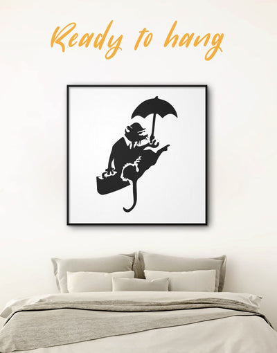 Framed Umbrella Rat by Banksy Wall Art Canvas - Banksy banksy wall art Black black and white wall art Contemporary