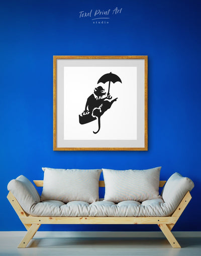 Framed Umbrella Rat by Banksy Wall Art Print - Banksy banksy wall art Black black and white wall art Contemporary